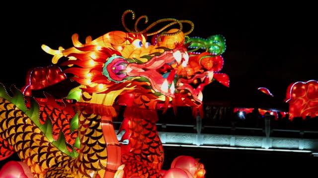stockvideo's en b-roll-footage met cu shot of dragon lantern for celebrating spring festival / xian, china - chinees nieuwjaar