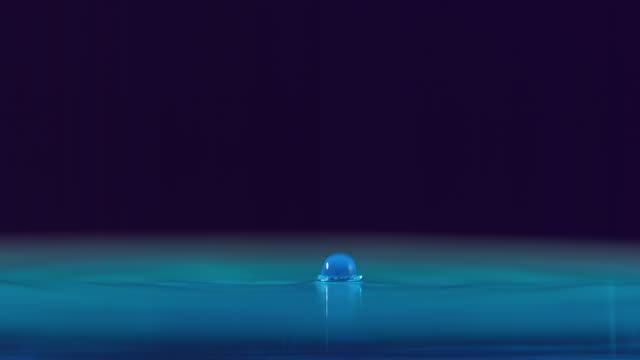 vídeos y material grabado en eventos de stock de cu slo mo shot of drop of water falls on surface of blue water / toronto, ontario, canada  - líquido