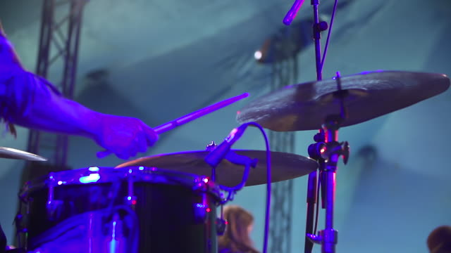 cu slo mo shot of drummer's hand hitting cymbal / victoria park, london, united kingdom - cymbal stock videos and b-roll footage