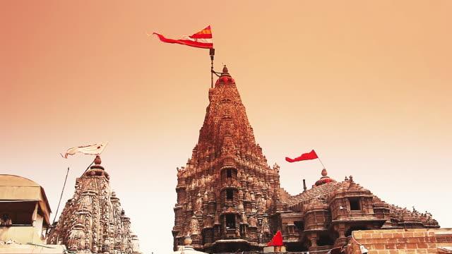 ms shot of dwarkadhish temple at dwarka / jamnagar, gujarat, india - グジャラート州点の映像素材/bロール