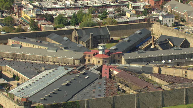 ms aerial ts zi shot of eastern state penitentiary buildings / philadelphia, pennsylvania, united states - philadelphia pennsylvania stock videos & royalty-free footage