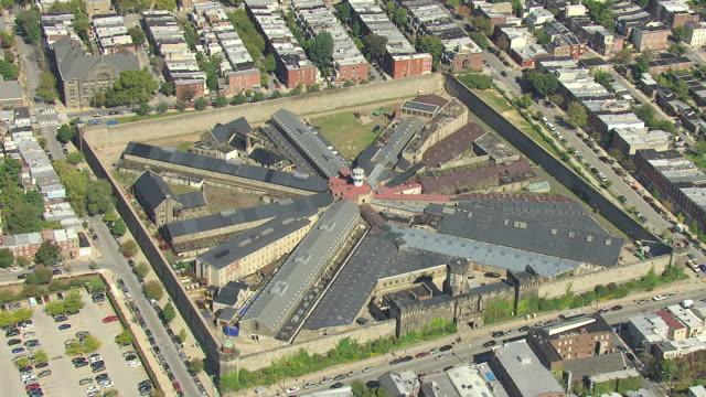 ms aerial ds shot of eastern state penitentiary buildings / philadelphia, pennsylvania, united states - eastern state penitentiary stock videos & royalty-free footage