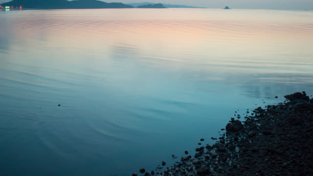 MS T/L Shot of ebb in Daebudo Island at sunset / Ansan, Gyeonggido, South Korea