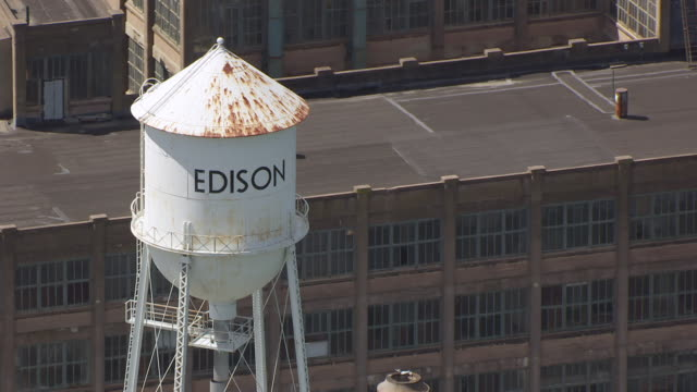 cu aerial ds shot of edison water tower in west orange / edison, new jersey, united states - orange new jersey stock videos & royalty-free footage