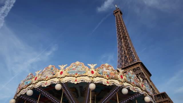 MS Shot of Eiffel tower and carrousel / Paris, Ile-de-France, France