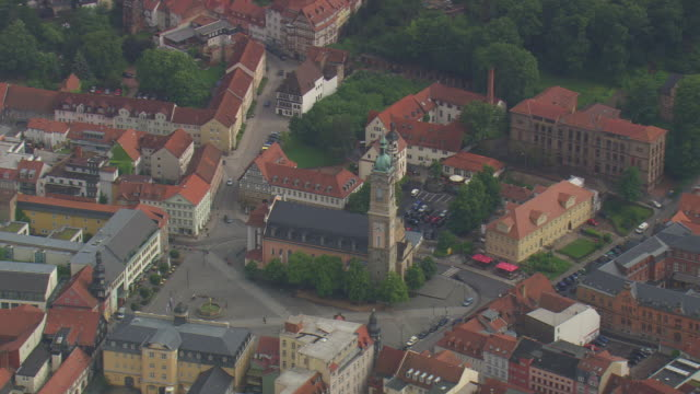 ms aerial shot of eisenach village / germany - thuringia stock videos & royalty-free footage