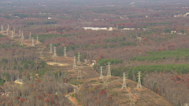 MS AERIAL TS Shot of electricity poles line at wooded area in Charlotte city / North Carolina, United States