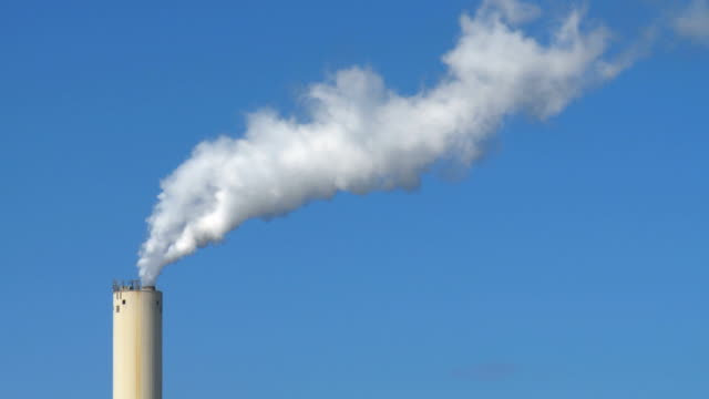 MS Shot of electricity Power Station chimney emitting white steam / Ashkelon, Judea, Israel