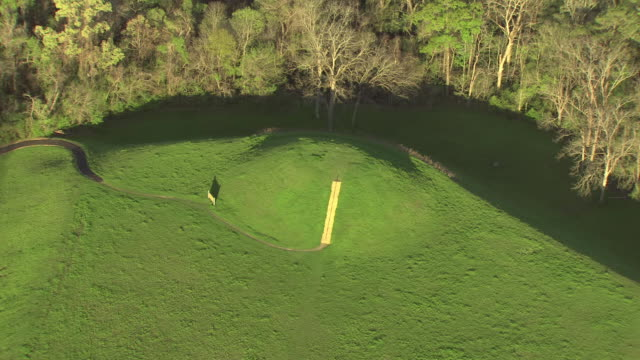 ms aerial shot of emerald mound near stanton to surrounding landscape and forest / mississippi, united states - heap stock videos & royalty-free footage