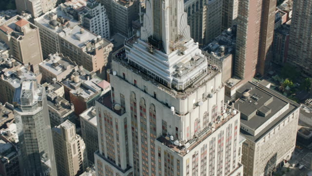 AERIAL MS DS ZO Shot of empire state building in city / New York City