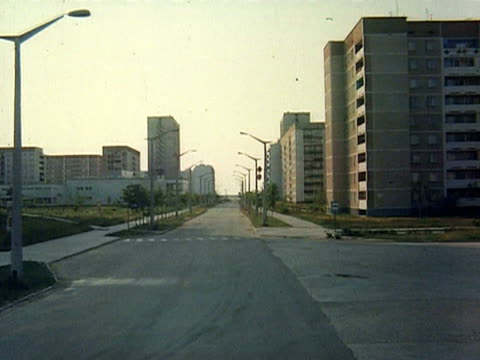 shot of empty streets, empty buildings, empty playground, immobile merry-go-round audio / pripyat, chernobyl, ussr, ukraine - 1986 stock videos & royalty-free footage