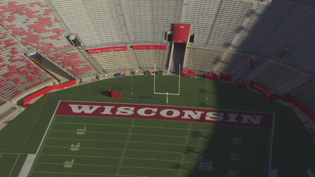 CU AERIAL ZO Shot of end zone and goal post in Camp Randall Stadium / Madison, Wisconsin, United States