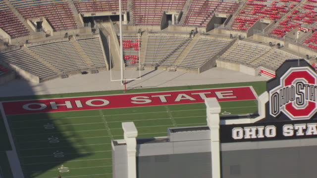 ws ds zo aerial shot of end zone and goal posts at football field and ohio state football stadium / columbus, ohio, united states - ohio state university stock videos & royalty-free footage