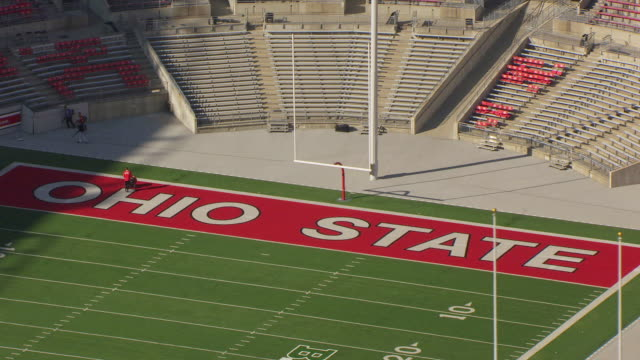 WS DS AERIAL Shot of end zone and goal posts of Ohio State Football Stadium / Columbus, Ohio, United States