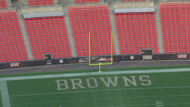 ms zo aerial shot of end zone at firstenergy stadium / cleveland, ohio, united states - cleveland browns stadium stock videos & royalty-free footage