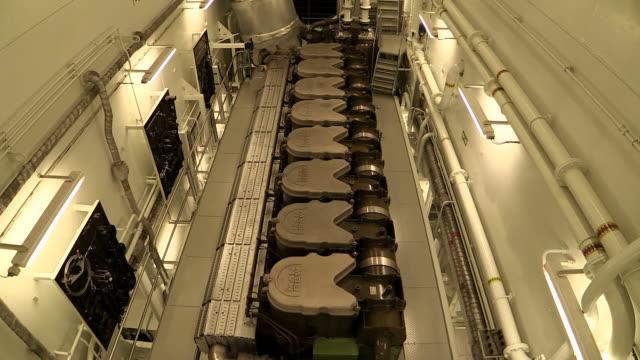 stockvideo's en b-roll-footage met ms tu shot of engine room of container vessel / baltic sea, poland - machinekamer