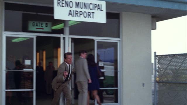 MS TS Shot of entrance of reno municipal airport / Los Angeles, California, United States