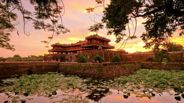 ws t/l shot of entrance to imperial city at nightfall / hue, thua-thien hue, vietnam - vietnam stock-videos und b-roll-filmmaterial