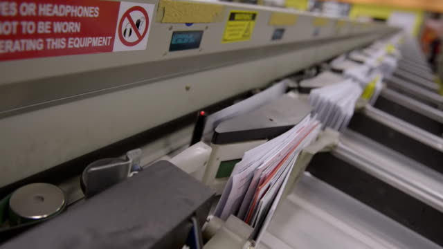 ECU Shot of Envelope conveyor / Clovelly, New South Wales, Australia