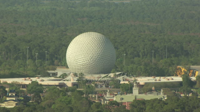 ms aerial zo shot of epcot center and disney world / orlando, florida, united states - epcot stock videos and b-roll footage