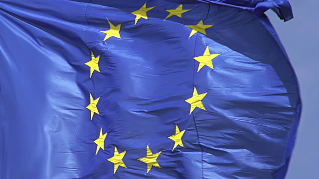 ecu slo mo shot of european flag waving in wind / caen, normandy, france - national flag stock videos & royalty-free footage