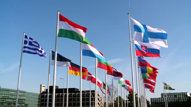 MS Shot of european flags moving in wind / Luxembourg