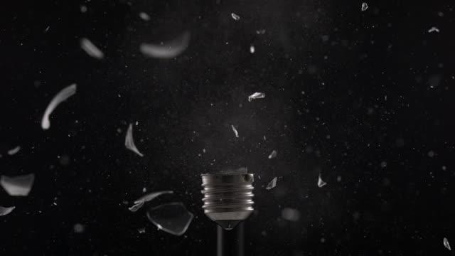 CU SLO MO Shot of exploding light bulb / Munich, Bavaria, Germany