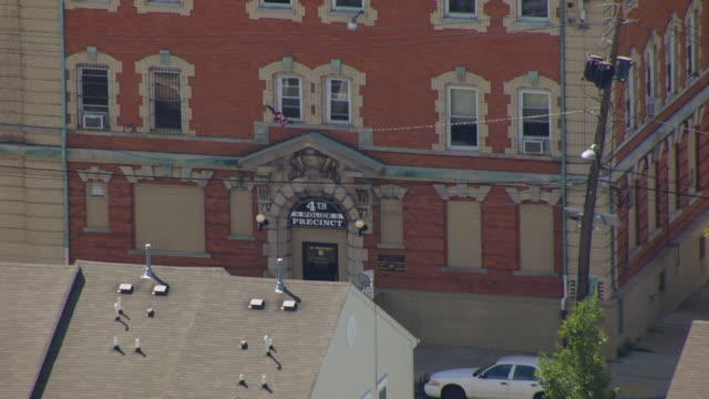 ms aerial shot of exterior of police station for fourth precinct / newark, new jersey, united states - police station stock videos & royalty-free footage