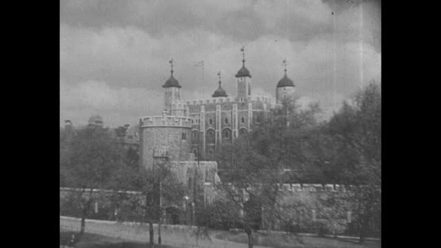 shot of exterior of the tower of london / note exact year not known - tower of london stock videos & royalty-free footage