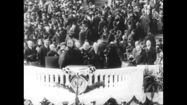 shot of exterior of us capitol / overhead shot of crowd gathered in front of capitol for inauguration ceremony / overhead shot of pres harry truman... - herbert hoover us president stock videos & royalty-free footage