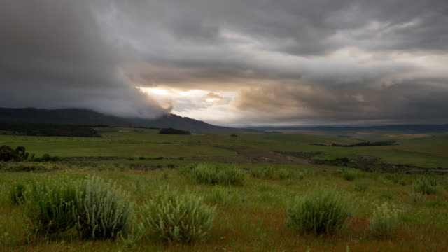 WS T/L Shot of Extreme weather rolling over rural landscape / Caledon, Western Cape, South Africa