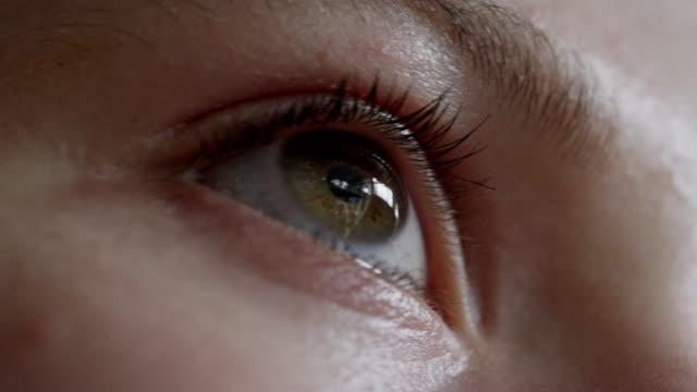 ecu pan la shot of eye opening and closing, pupil reacting to light / london, hampstead, united kingdom - human eye stock videos & royalty-free footage