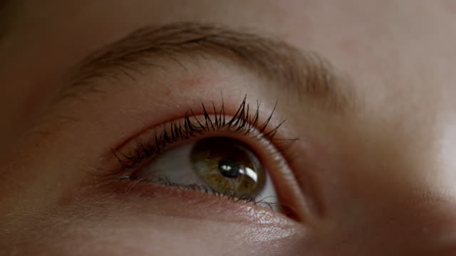 ECU LA Shot of Eye opening and closing, pupil reacting to light / London, Hampstead, United Kingdom