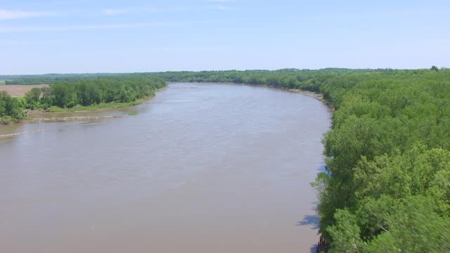 MS AERIAL LA TU Shot of farmland and Missouri River in Cooper County / Missouri, United States