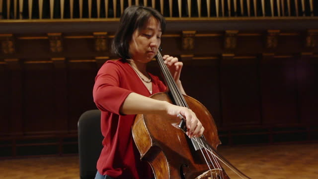 ms td tu shot of female cellist practicing solo piece on stage audio / ann arbor, michigan, united states - violin stock videos & royalty-free footage