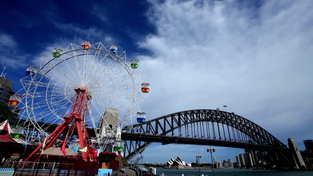 Shot of Ferris Wheel in the Foreground Sydney Harbor Bridge in the Middleground and Opera House in the Background