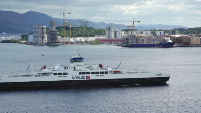 ms shot of ferry boat at city / stavanger, rogaland, norway - stavanger stock videos & royalty-free footage