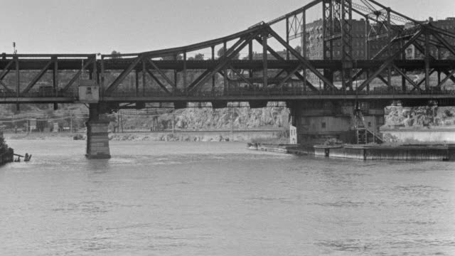 MS POV Shot of ferry boat on Harlem River swinging bridge