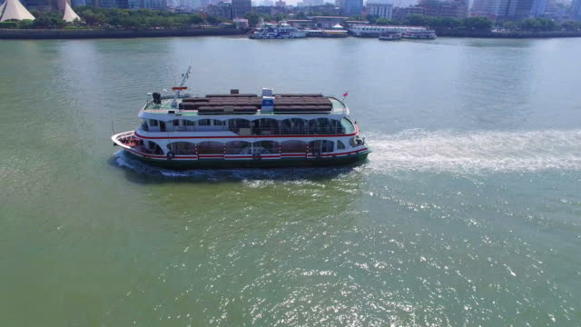 WS AERIAL shot of ferry in sea/Xiamen,Fujian,China