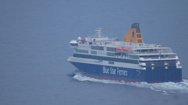 MS ZO AERIAL Shot of ferry on open water / Dodecanese, Greece
