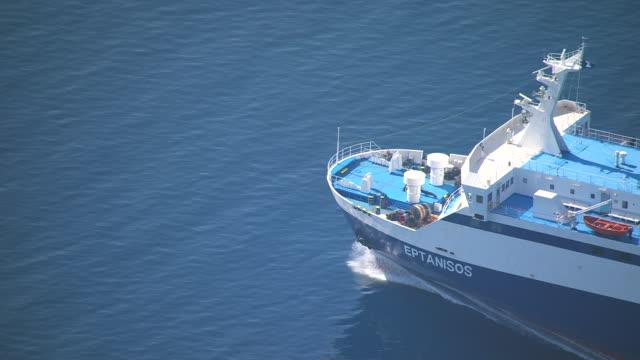MS TS ZI ZO AERIAL Shot of ferry on open water / Ionian Islands, Greece