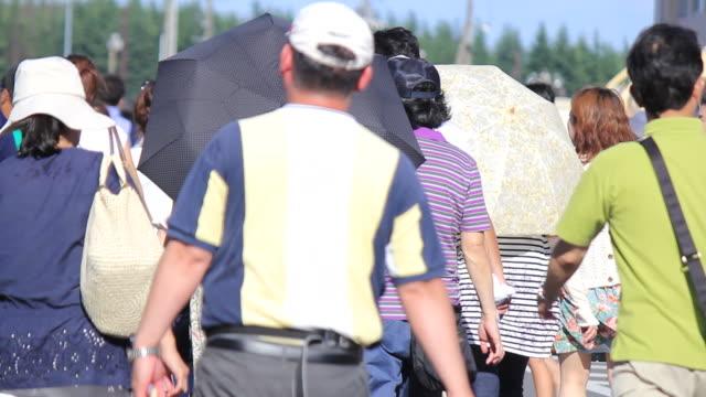 ms shot of festival crowd in summer / fussa, tokyo, japan - バッグ点の映像素材/bロール