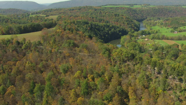 WS AERIAL Shot of fields with woods and stream in Bedford County / Pennsylvania, United States