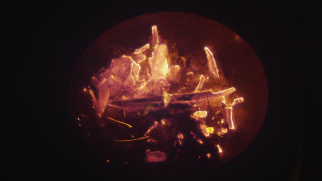 'CU Shot of fire burning in bowl / Berlin, Germany'