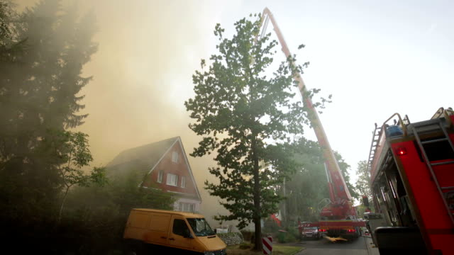 hamburg hamburg germany august 08 2019 shot of fire in a roof truss and firefighters - carbon monoxide stock videos & royalty-free footage
