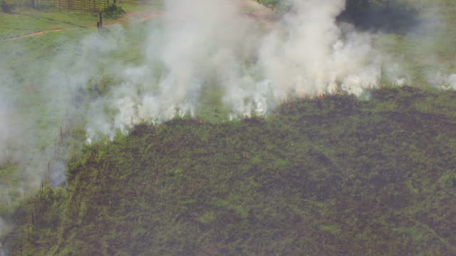 cu aerial ds shot of fire line and burning grass during prairie burn in montgomery county / kansas, united states - forest fire stock videos and b-roll footage