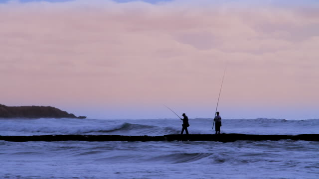 ms shot of fisherman and partner surrounded by surf waves at dusk / jan juc, victoria, australia - fishing industry stock videos & royalty-free footage