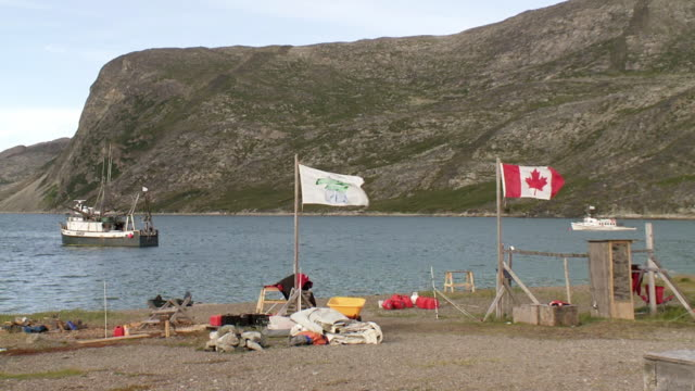 ms shot of flags blowing with wind and fishing boat in water / torgat mtns, labrador, canada - wiese stock videos & royalty-free footage