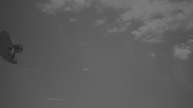 MS TS Shot of flying Japanese Zero aircraft explodes. (Miniature)