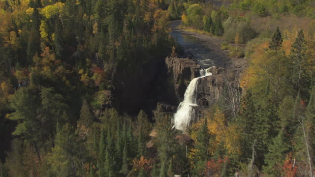 ms aerial shot of flyover fall trees to reveal high falls / minnesota, united states - minnesota stock videos & royalty-free footage